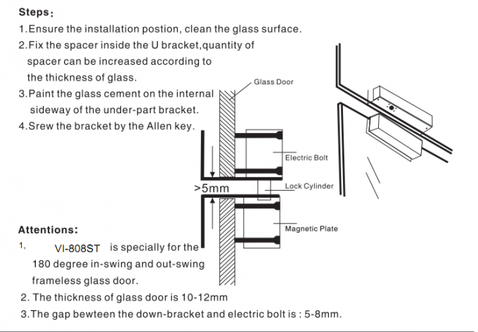 Full Frameless Glass Door Electric Drop Bolt For Gates , FCC MA Certification
