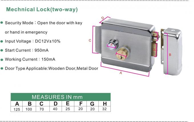 Home High Security Electric Rim Lock With Double Cylinder Push Button , 123 X 106 X 35mm 0
